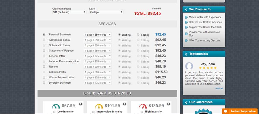 personalstatementwriter.com prices