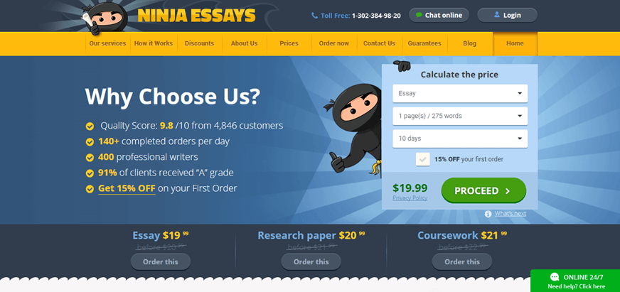 ninja essays review