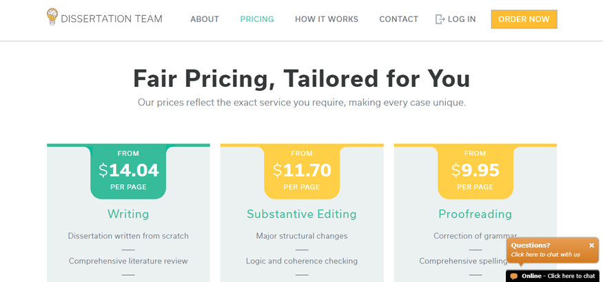 dissertationteam.com pricing