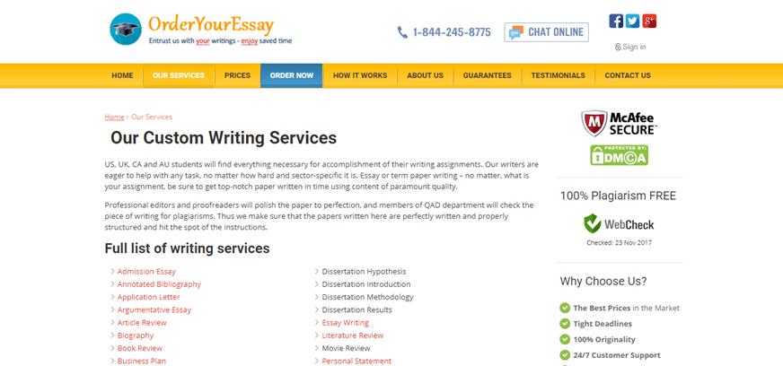 orderyouressay.com services