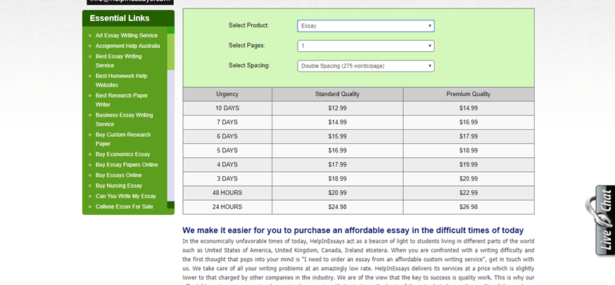 helpinessays.com prices