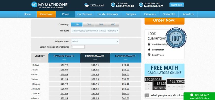mymathdone.com prices