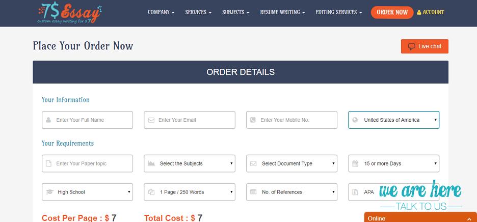 7dollaressay.com order